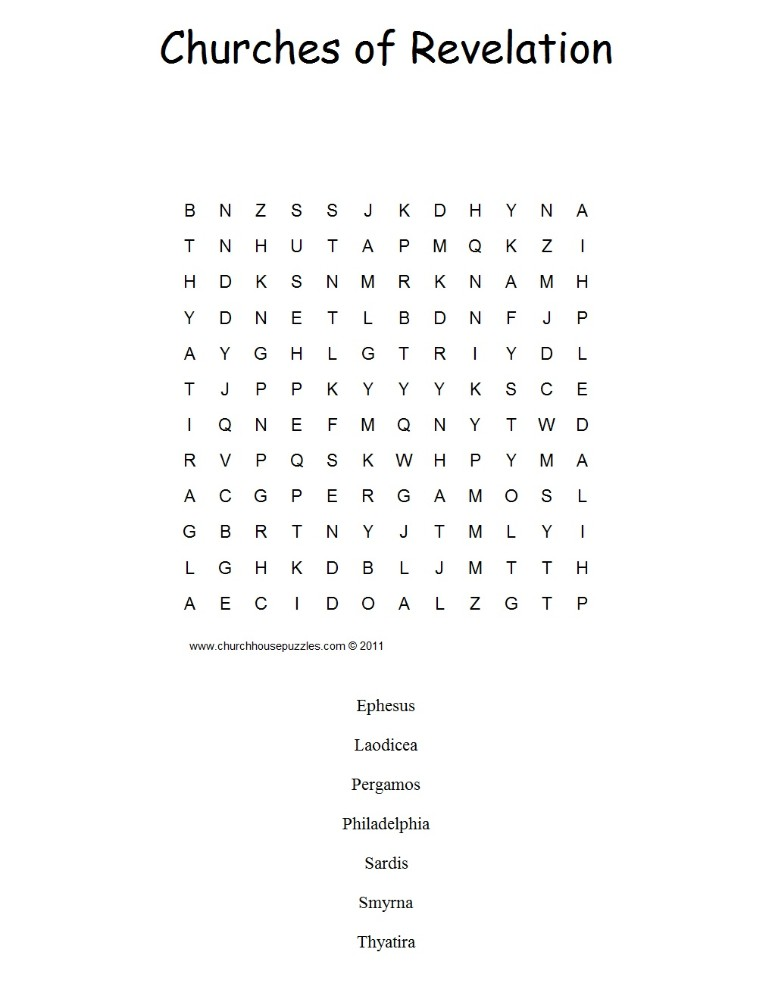 Churches of Revelation Word Search Puzzle