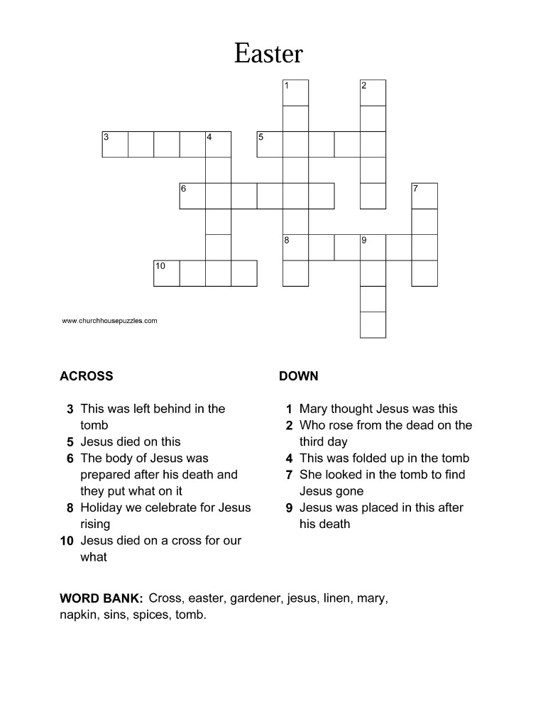 picture relating to Easter Crossword Puzzles Printable named Easter Crossword Puzzle