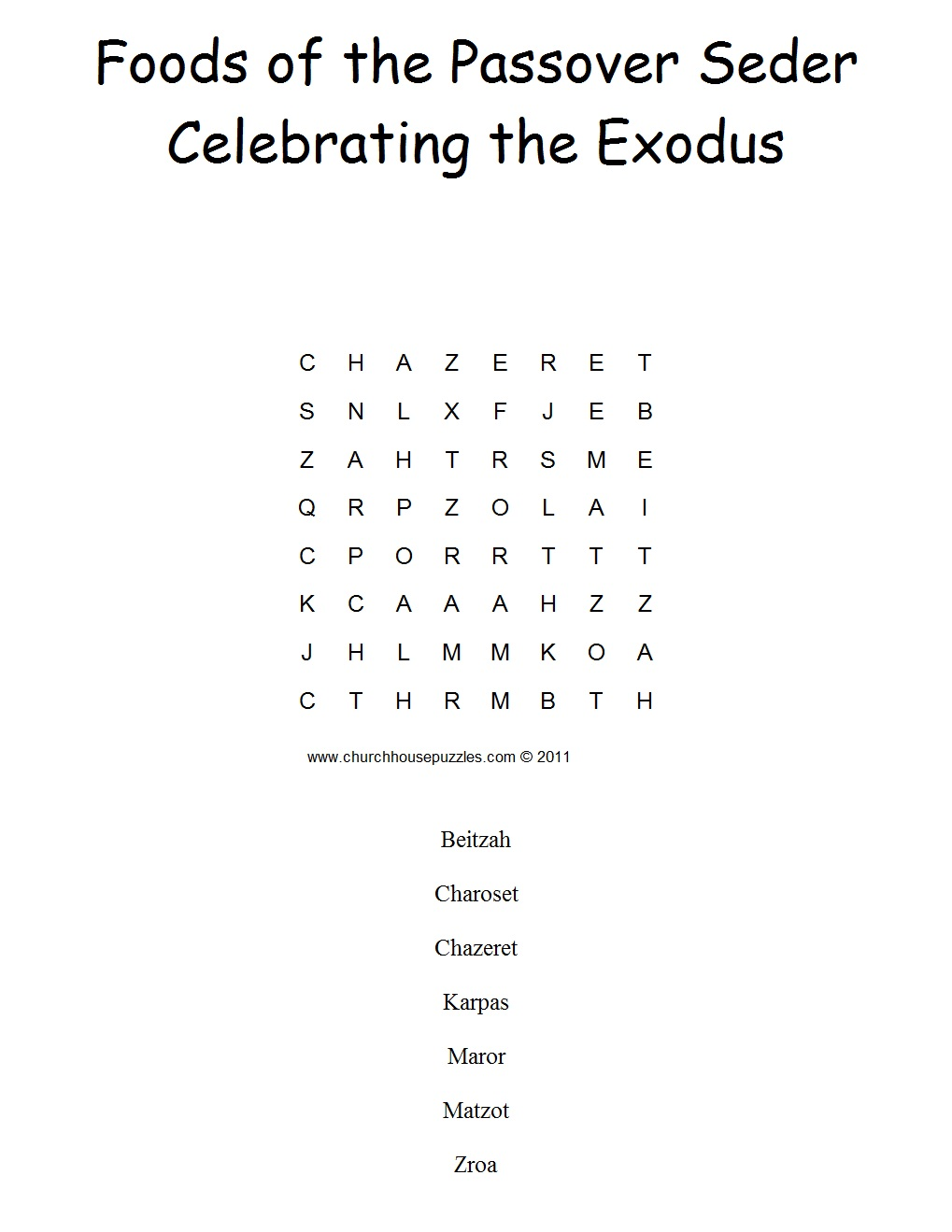 passover seder crossword