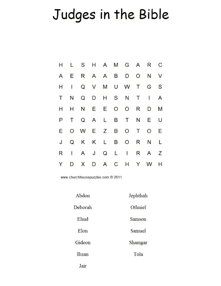 Judges in the Bible Word search puzzle