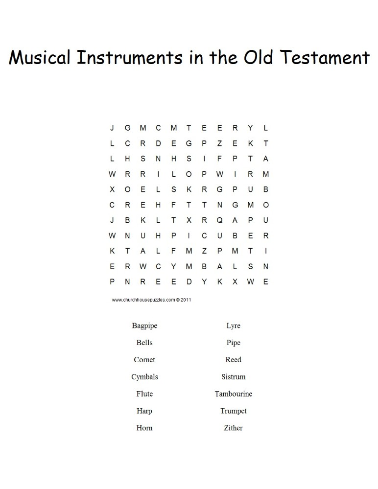 photograph relating to Christian Word Search Printable named Musical Intruments inside of the Bible Phrase Appear Puzzle