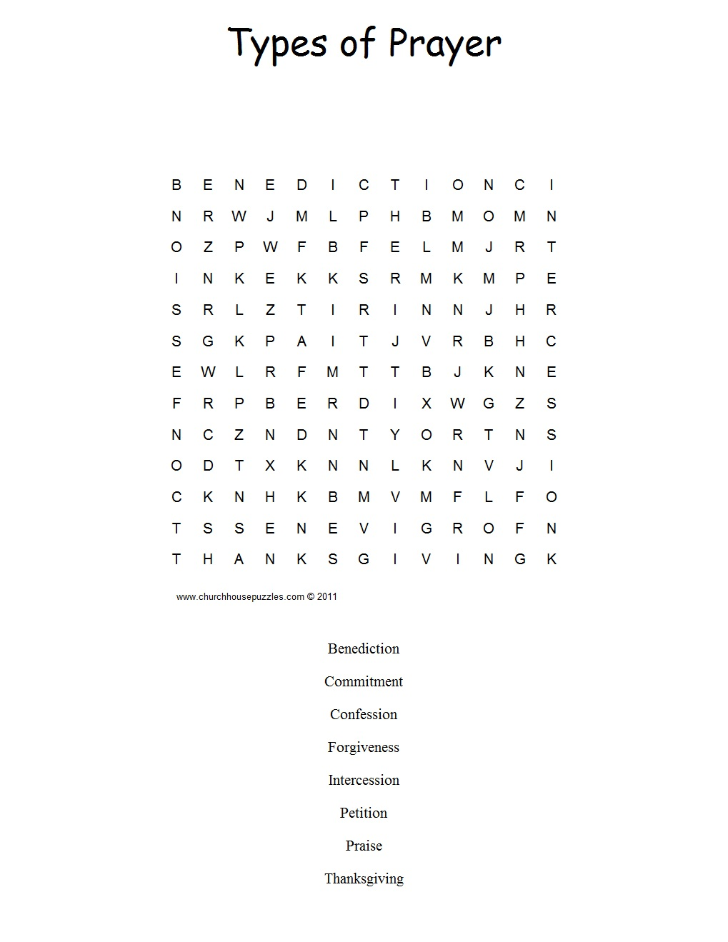 types of prayer word search puzzle