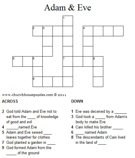 Adam and Eve crossword puzzle