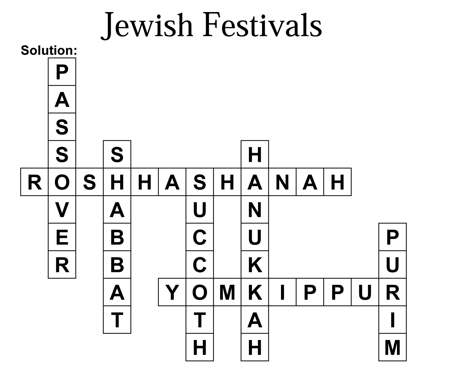 Jewish Festivals Crossword