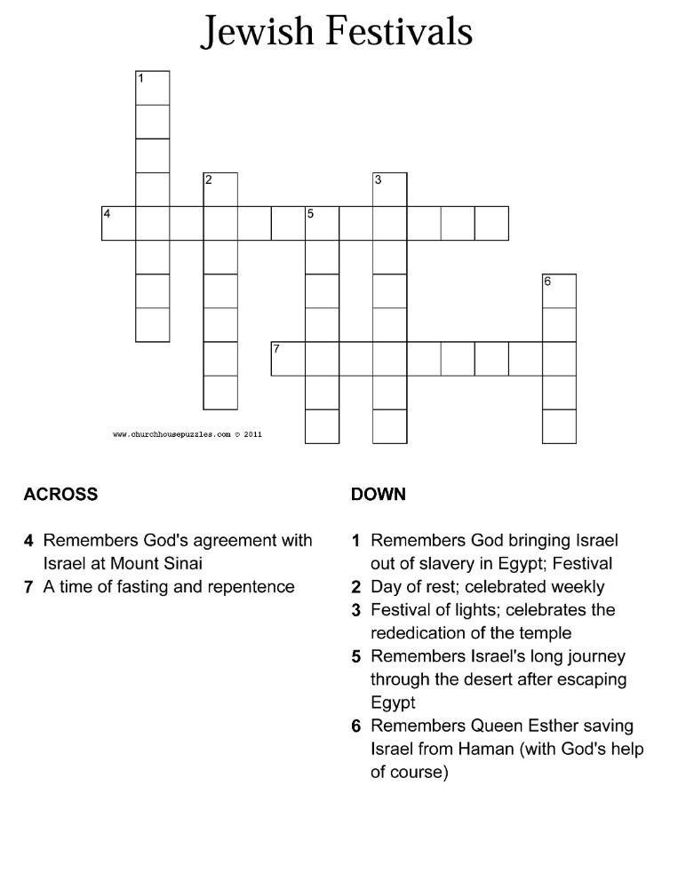 Jewish Festivals Crossword Puzzle