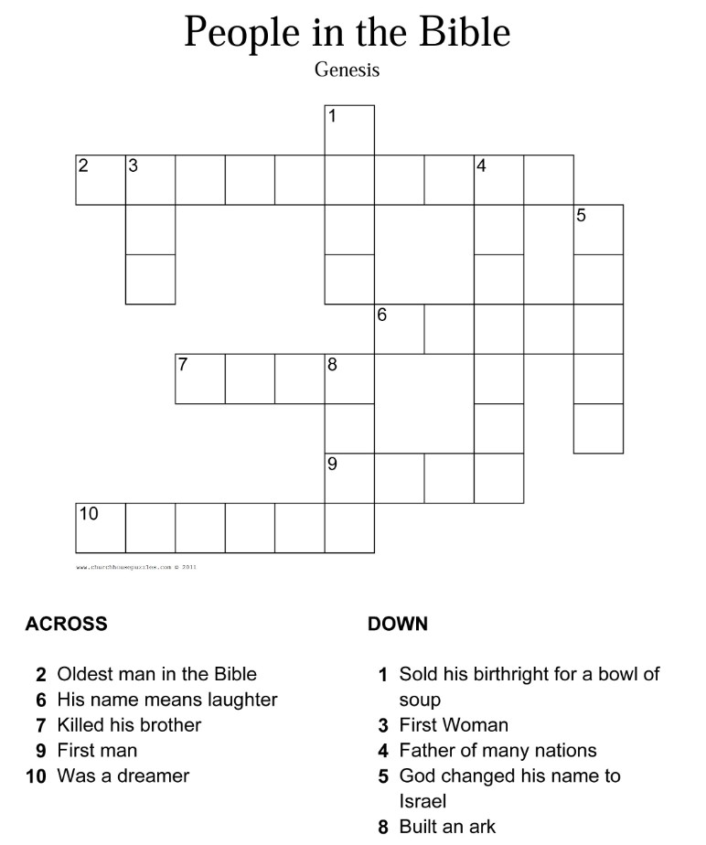photograph regarding Bible Crossword Puzzles Printable named Genesis Crossword Puzzle
