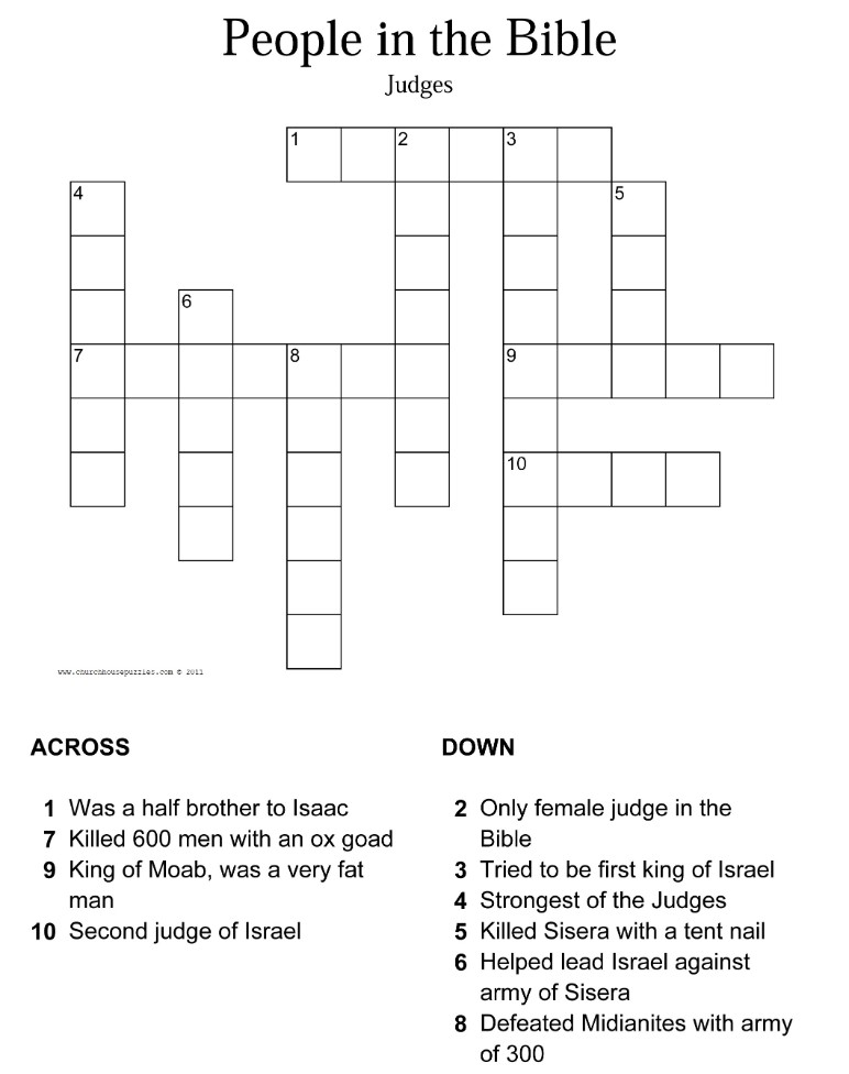 photograph relating to Printable Bible Crossword Puzzles titled Judges Crossword Puzzle
