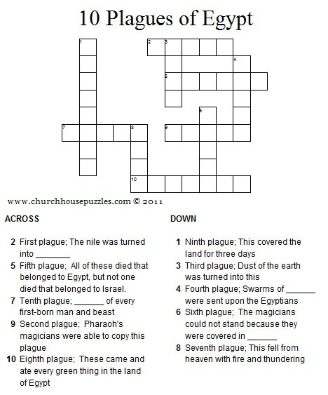 Ten Plagues of Egypt Crossword Puzzle