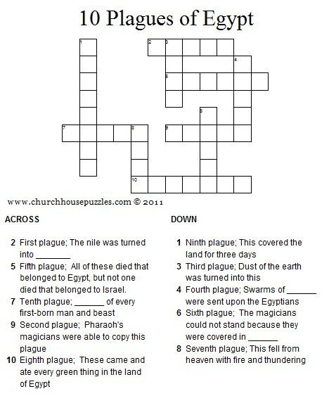 Ten Plagues Of Egypt Crossword Puzzle