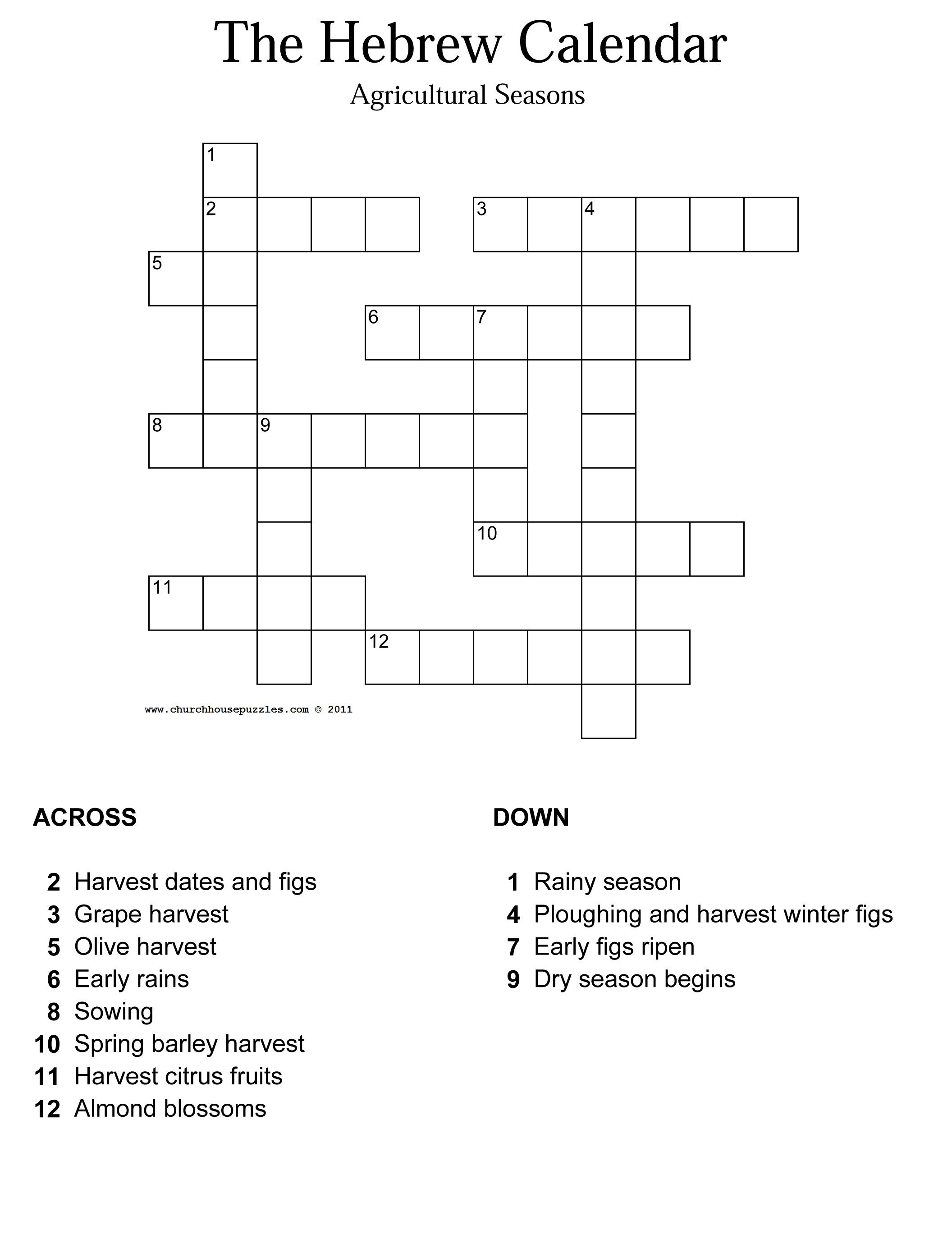 Hebrew Calendar.The Hebrew Calendar Crossword Puzzle