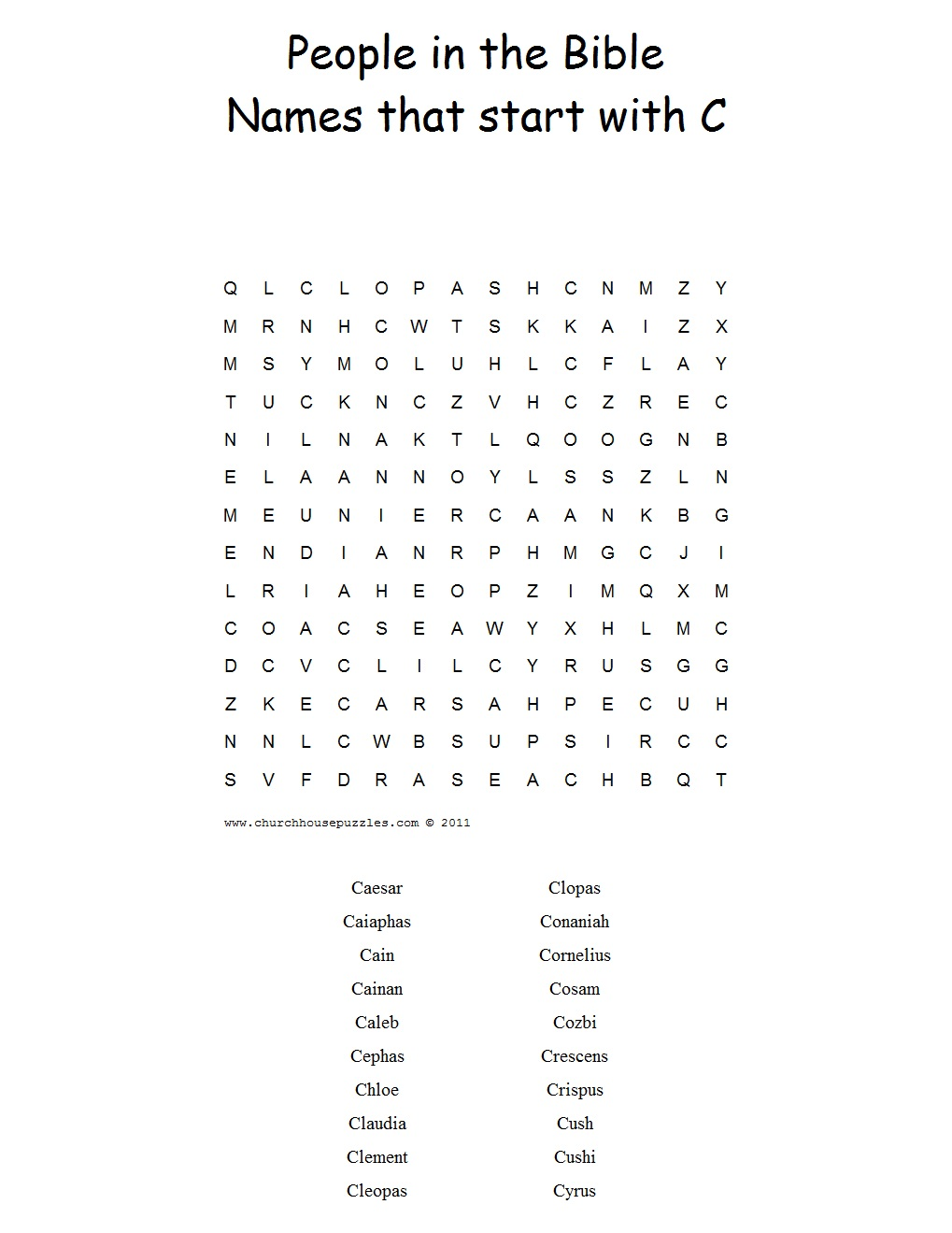 names that start with c word search puzzle. Black Bedroom Furniture Sets. Home Design Ideas