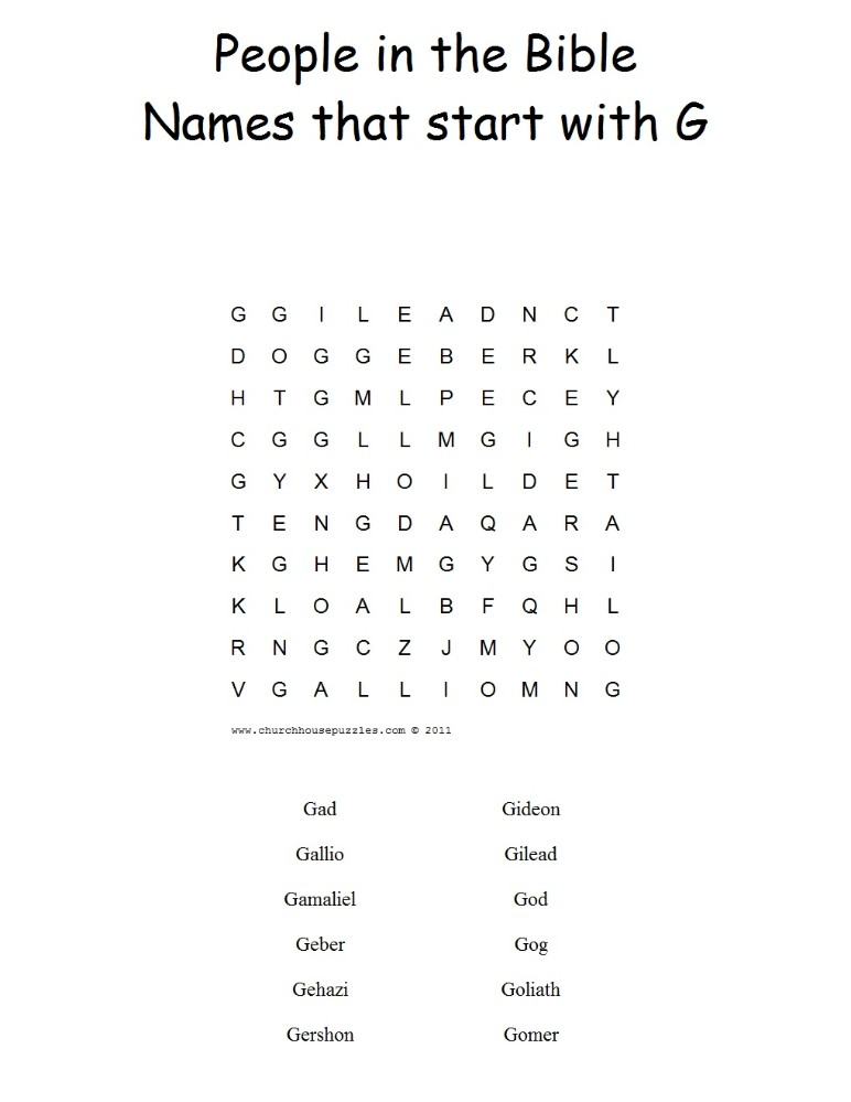 Names That Start With G Word Search Puzzle
