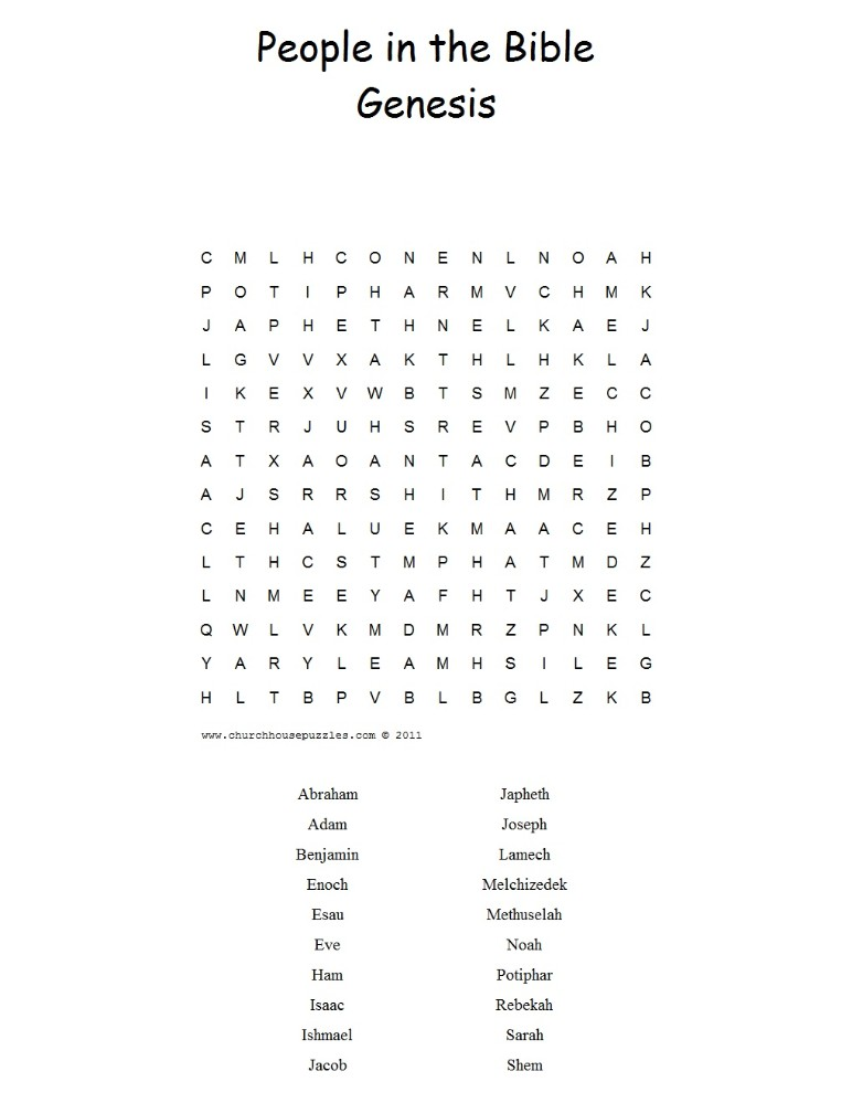 People in the Bible Book of Genesis Word Search Puzzle