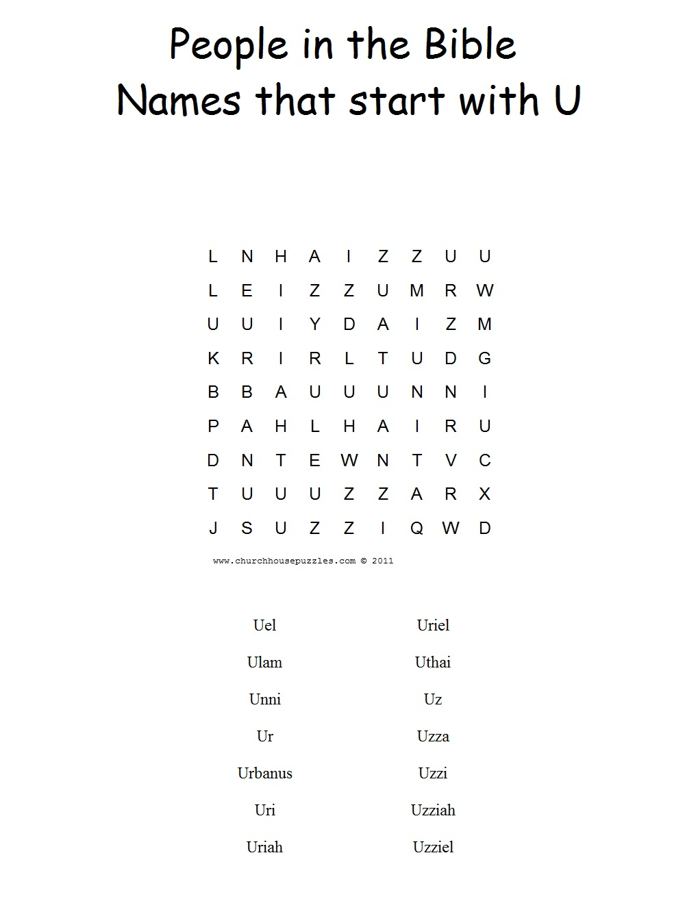 Names That Start With U Word Search Puzzle
